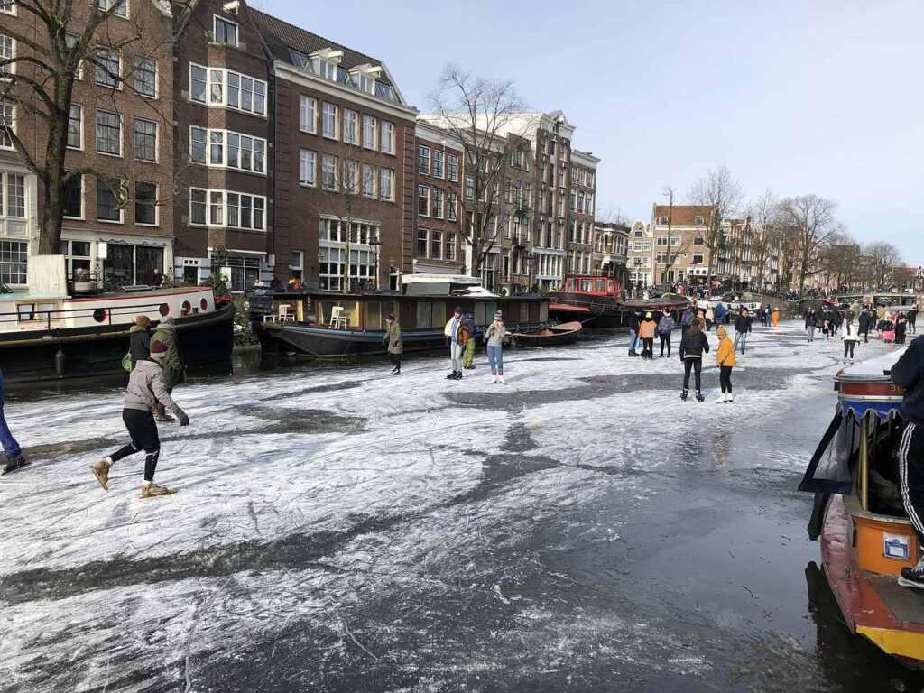 Ice skating on Amsterdam canals